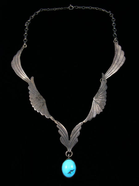 Estate Sterling Silver Turquoise Necklace