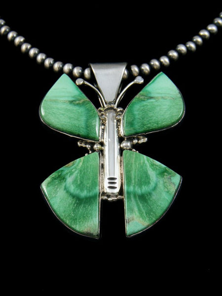 Estate Butterfly Variscite Sterling Silver Necklace