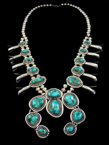 Old Pawn Royston Turquoise Squash Blossom Necklace