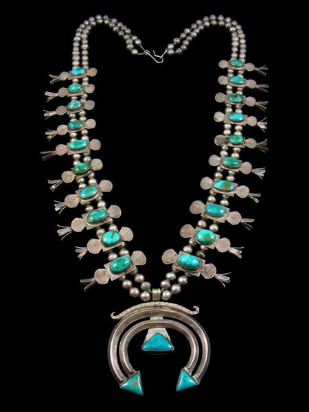 Old Pawn Blue Gem Turquoise Box Bow Squash Blossom Necklace