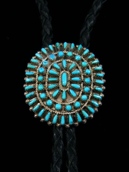 Old Pawn Indian Jewelry Silver Turquoise Bolo Tie by Norman and Virginia Hooee - PuebloDirect.com - 1