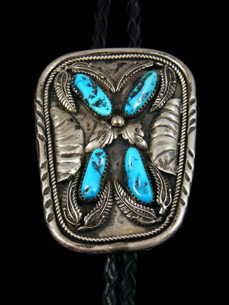 Old Pawn Indian Jewelry Sterling Silver Turquoise Bolo by Vintage Jewelry - PuebloDirect.com - 1