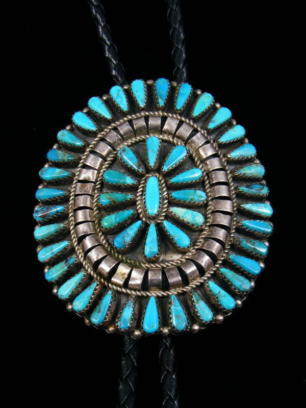 Old Indian Jewelry Turquoise Bolo Tie by T L - PuebloDirect.com - 1