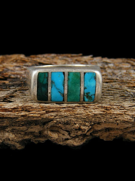Estate Native American Sterling Silver Inlay Ring, Size 6