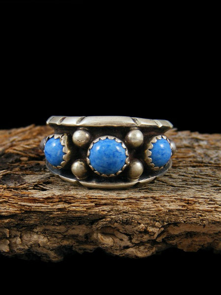 Vintage Native American Sterling Silver Denim Lapis Ring, Size 7.5