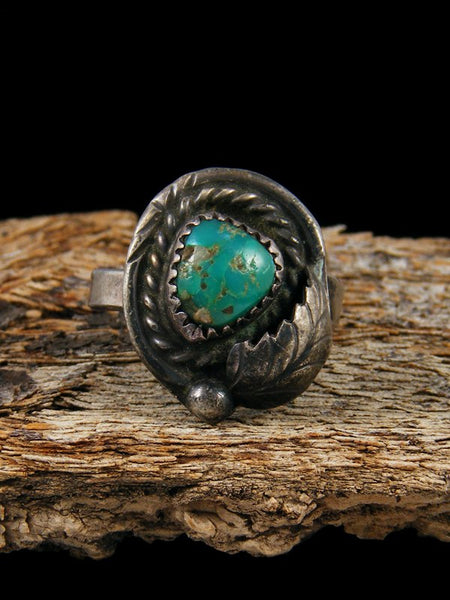Estate Native American Sterling Silver Turquoise Ring, Size 9