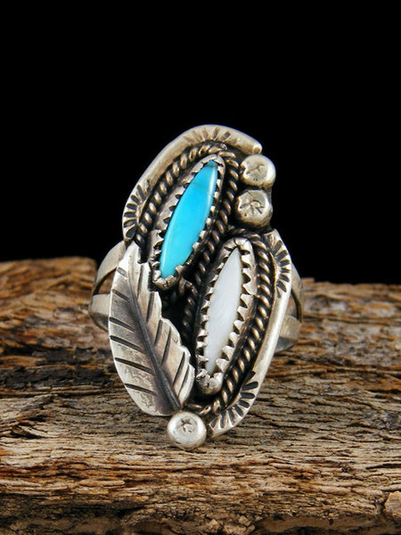Vintage Native American Sterling Silver Turquoise and Opal Ring, Size 7.5