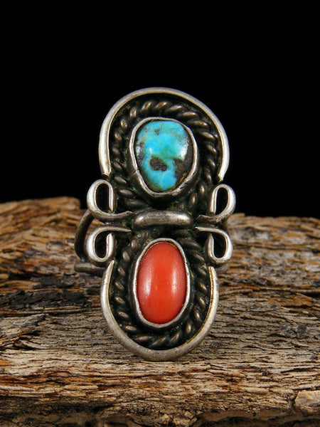 Old Pawn Native American Sterling Silver Turquoise and Coral Ring, Size 5