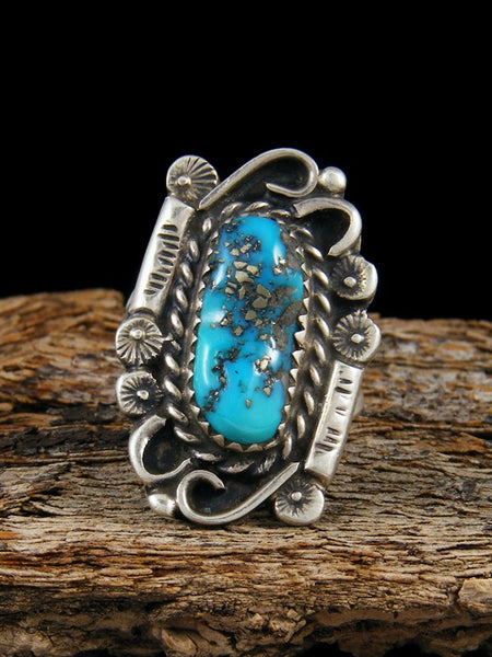 Old Pawn Native American Sterling Silver Turquoise Ring, Size 5
