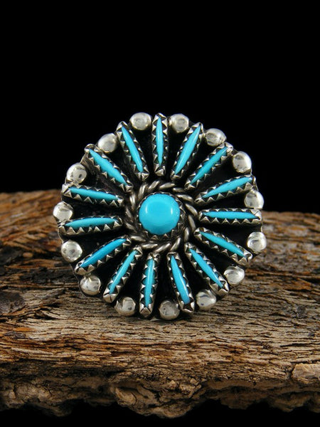 Estate Native American Sterling Silver Turquoise Ring, Size 5