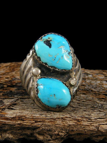 Vintage Native American Sterling Silver Double Turquoise Ring, Size 9.5