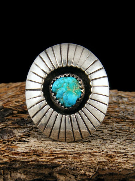 Old Pawn Native American Sterling Silver Turquoise Ring, Size 6.5