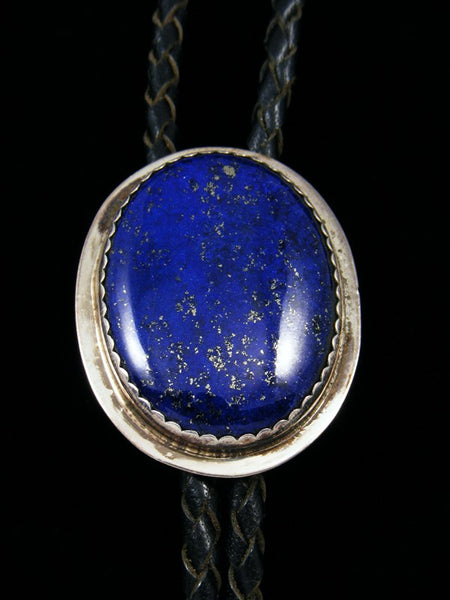 Old Pawn Indian Jewelry Sterling Silver Lapis Bolo Tie