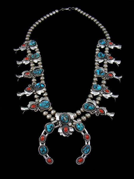 Old Pawn Sterling Silver Turquoise & Coral Squash Blossom Necklace