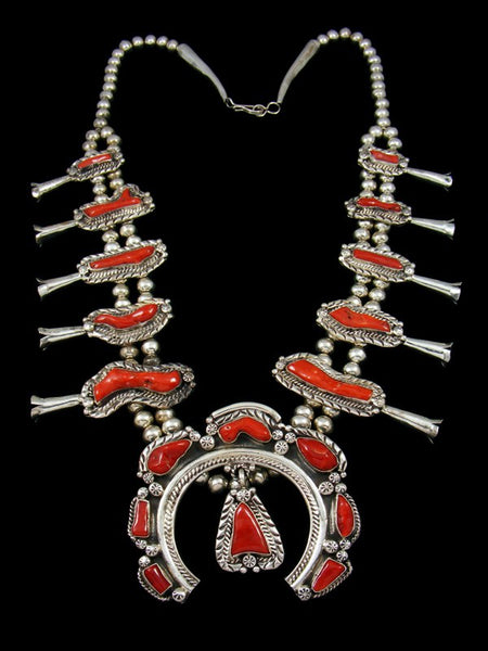 Old Pawn Sterling Silver Coral Squash Blossom Necklace