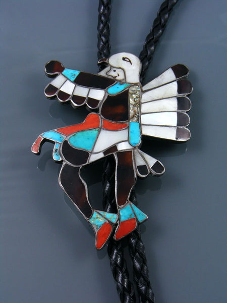 Old Native American Jewelry Zuni Inlay Eagle Dancer Bolo Tie