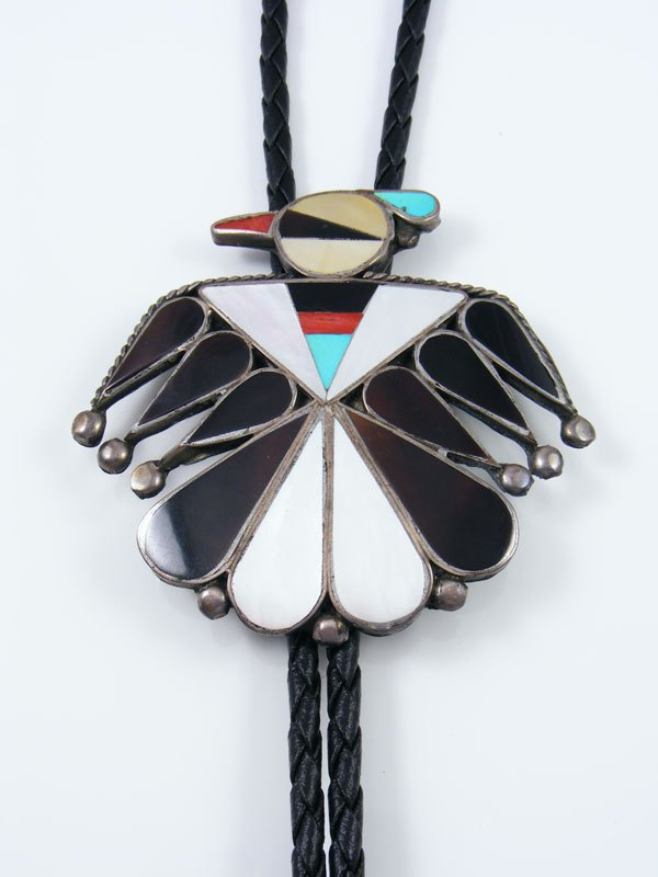 Vintage Zuni Jewelry Sterling Silver Inlay Thunderbird Bolo Tie