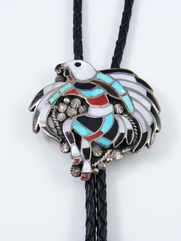 Old Pawn Zuni Jewelry Sterling Silver Inlay Eagle Dancer Bolo Tie