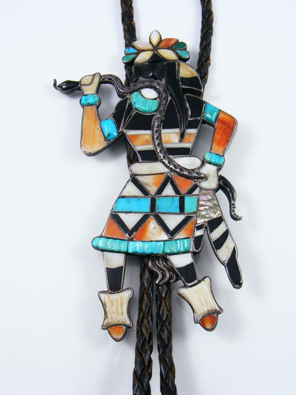 Old Pawn Zuni Jewelry Sterling Silver Inlay Snake Dancer Bolo Tie