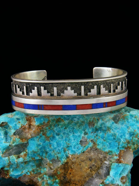 Vintage Native American Sterling Silver Inlay Bracelet