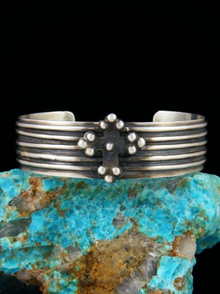 Estate Native American Sterling Silver Cross Bracelet