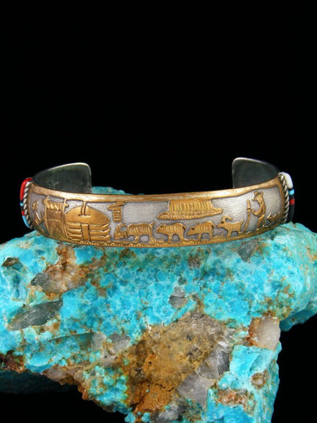 Estate Native American Sterling Silver and Gold Turquoise and Coral Storyteller Bracelet