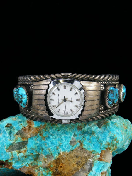 Old Pawn Indian Jewelry Turquoise Sterling Silver Cuff Watch
