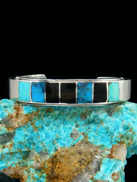 Estate Native American Sterling Silver Inlay Bracelet
