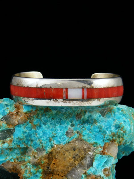 Estate Native American Sterling Silver Inlay Coral Bracelet