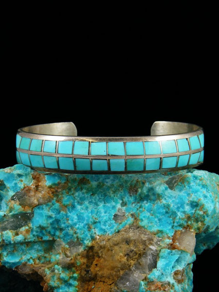 Vintage Native American Zuni Inlay Turquoise Bracelet