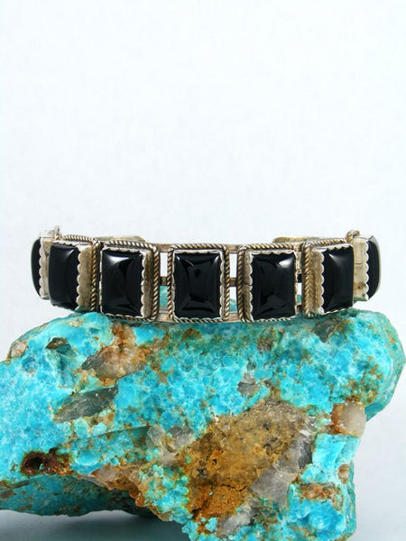 Estate Native American Sterling Silver Onyx Bracelet