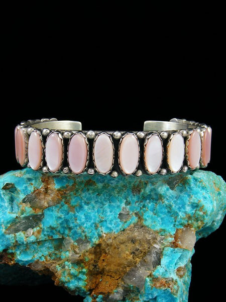 Estate Native American Sterling Silver Pink Shell Bracelet