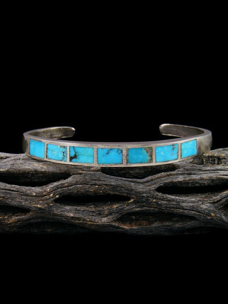 Vintage Native American Sterling Silver Turquoise Inlay Bracelet