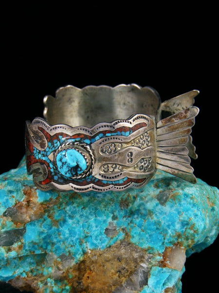 Old Pawn Indian Jewelry Sterling Silver Chip Inlay Turquoise Nugget Cuff Watch