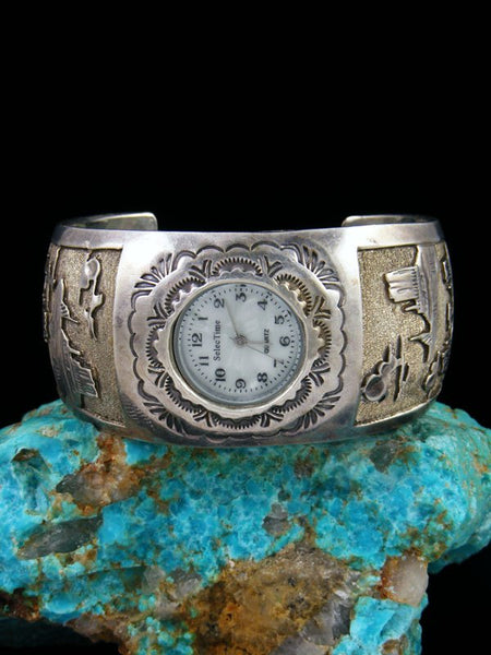 Vintage Native Jewelry Sterling Silver Storyteller Cuff Watch