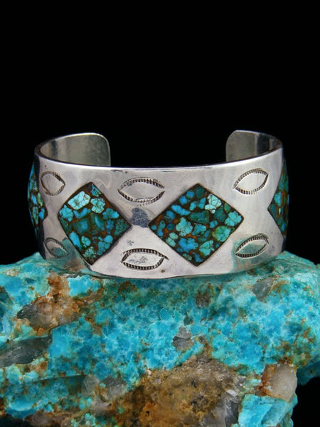 Old Pawn Native American Sterling Silver Turquoise Chip Inlay Bracelet
