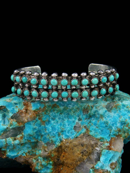 Old Pawn Zuni Sterling Silver Turquoise Row Bracelet
