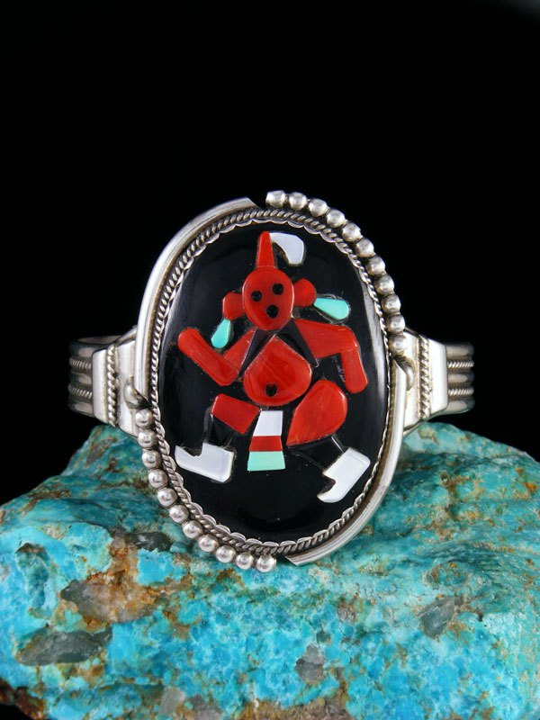 Estate Native American Sterling Silver Mudhead Inlay Bracelet