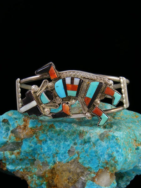 Estate Native American Sterling Silver Rainbow Yei Inlay Bracelet