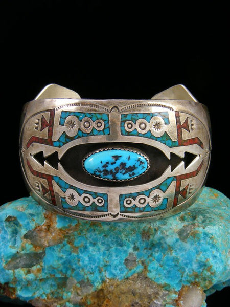 Vintage Native American Sterling Silver Turquoise and Coral Chip Inlay Cuff Bracelet