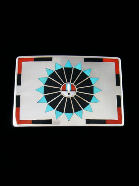 Vintage Zuni Inlay Sterling Silver Sunface Buckle