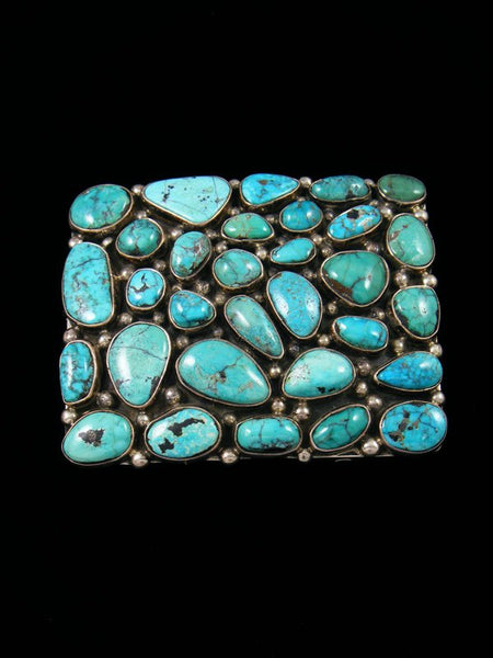 Sterling Silver Native American Vintage Turquoise Belt Buckle