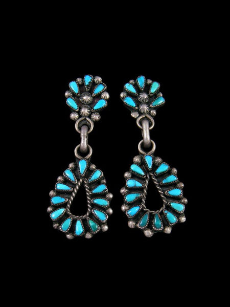 Old Zuni Sterling Silver Turquoise Post Earrings
