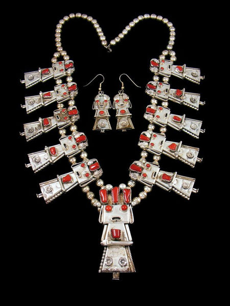 Vintage Native American Natural Coral Yei Figurine Necklace Set