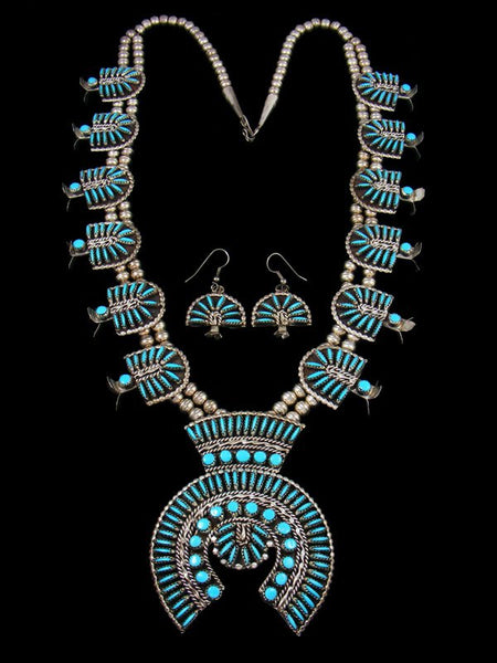 Estate Sterling Silver Turquoise Squash Blossom Necklace Set