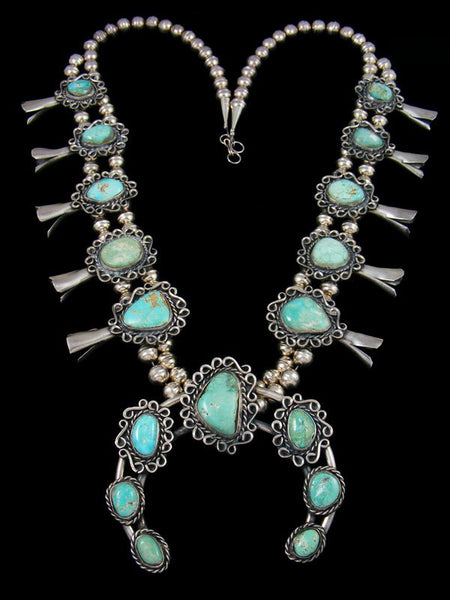 Old Sterling Silver Turquoise Squash Blossom Necklace