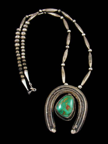Old Native Jewelry Sterling Silver Turquoise Necklace