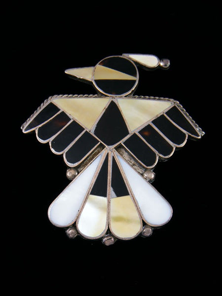 Vintage Sterling Silver Thunderbird Zuni Inlay Pin