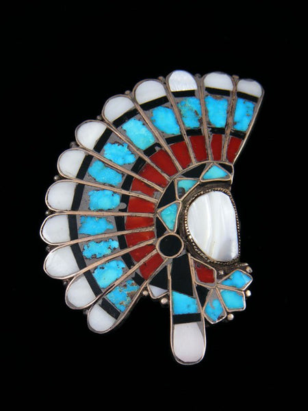 Old Pawn Sterling Silver Chief's Head Zuni Inlay Pin and Pendant