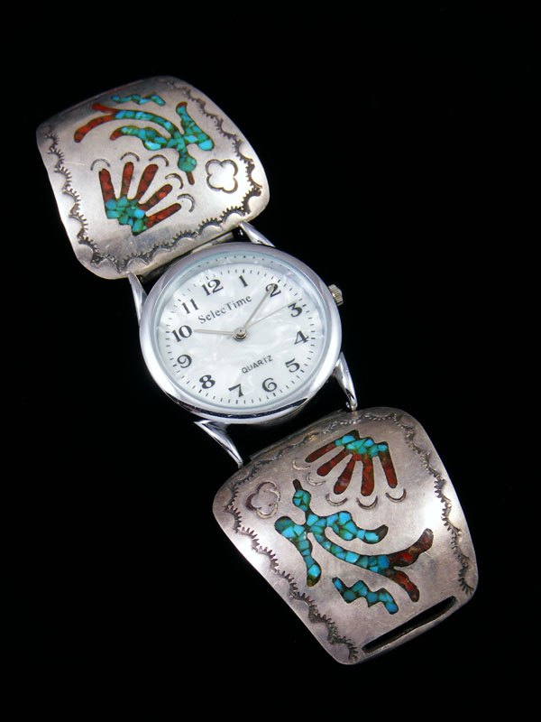 Old Pawn Native American Jewelry Chip Inlay Watch